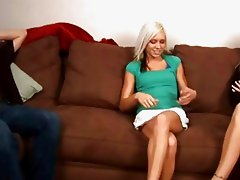 Slutty blonde teen joins married couple for a threesome