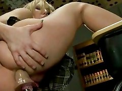 Busty blonde sitting on a desk squirts