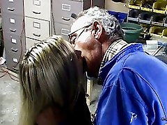 Hot blonde vixen has wild sex old guy
