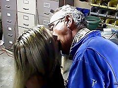 Hot blonde vixen has wild sex old guy
