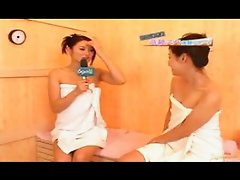 Pretty Asian announcer lesbian in sauna and ...
