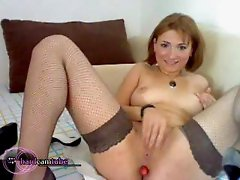 Girl in stockings does double penetration and ass to mouth