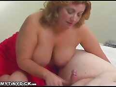 Girl sucking on a two inch dick