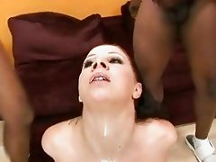 Lusty babe Gianna Michaels wildly receives a hot cumshot after a nasty blowjob