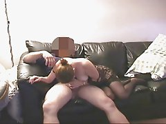 short clip bj in black thigh highs on couch