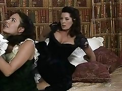 Two dark haired beauties get nailed by one stiff cum shooter
