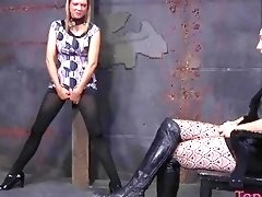 Tied up bimbo chained up and molested hard BDSM porn