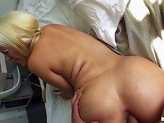 Bosomy blonde nympho Blondie Feser gets both her holes polished properly