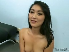 Backstage sex clip featuring charming oriental hoochie