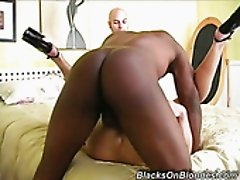 Bald cuckold stud watched his nasty red haired sweetie fucking with black man
