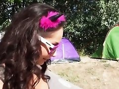 Eurobabe Aurelly Rebel pounded and facialed in the camp