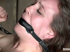 Brunette babe Sierra Cirque gagged and pussy fucked in high heels