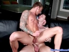 Playful muscle stud assfucked while tugging