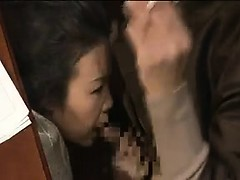 Horny Asian wife with a hot ass gets under the table and su