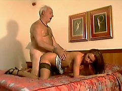Pleasure seeking harlot is having a nice sex with an old fart