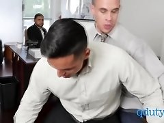 Black employee gets his tight asshole rammed by horny boss and coworker