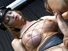 Classy shemale in fishnets gets him to suck her prick
