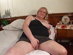 Horny cougar masturbates passionately then sucks a hard cock for fresh cum