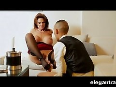 Cocky butler attack mature busty mistress with his big dick