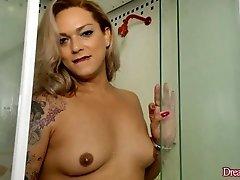 Natural Tit Tranny Masturbates in Shower