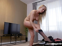 Blonde mature office slut Cecilia rides her boss's dick