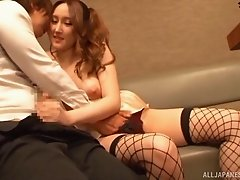 Fashionable and busty Japanese girl gives an amazing blowjob