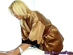 Alluring masseuse blowing