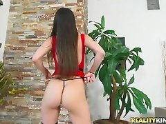 This hot chick loves showing off her sweet bum and she wants some dick