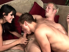 Shy Love is the real teacher of blowing and jumping on two dicks