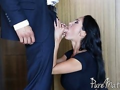 Amazing brunette MILF with large tits gives a titjob and fucks hard