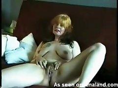 Redhead trailer trash smokes nude