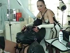 Freaky femdom breathplay with submissive slave and mistress BDSM porn