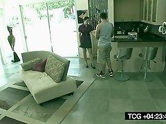 Slutty Brunette Fucks Her Pool Boy In Hidden Video