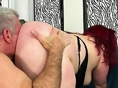 Chubby redhead pussyfucked from behind