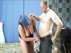 Dirty old photographer fucks his chubby mature cleaning lady