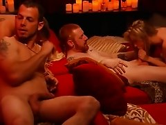 Group of nasty swingers enjoying hot orgy in the bedroom
