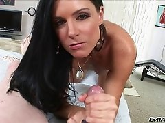 Icy hot milf gives her man a sensual blowjob till he explodes all over her
