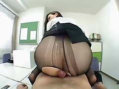 Amazingly hot Japanese office girl rides a dick