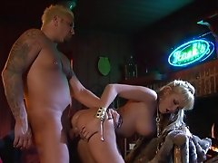 Blonde in jeans gets cumshot after being screwed doggystyle at the bar