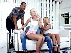 Blonde Lovita Fate and Amber Deen cum covered in a hardcore foursome