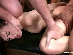 sluttiest brunette babe enjoying multiple penetrations in gangbang