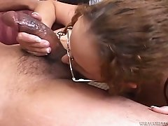 Disgusting mature slut in glasses blows fresh cock of her boy greedily