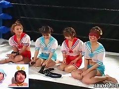Masturbation show on the ring with torrid horny nymphos including Nana Mizuno
