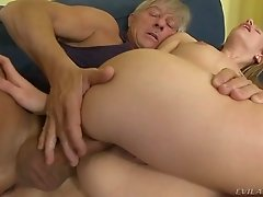This raunchy coed with small titties loves older men for sex