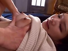 Fashionable Asian girl sucking and fucking in clothes