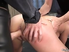 Brunette slave trained with huge dick