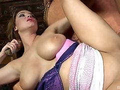 Horny MILF babe Emma Leigh gobbles down a cock and swallows cum