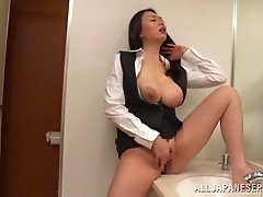 Wild clothed sex between two horny Japanese co-workers