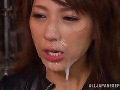 Magnificent Asian Babe With Big Tits Getting Cum On Her Face