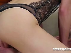 Sexy looking insatiable blackhead Carolina Abril fucks with two horny guys greedily